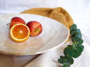 my hungry valentine-studio-ceramics-stripes-flared fruit bowl-cloudy white-zoom