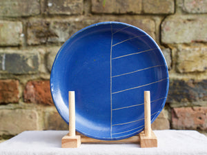 my hungry valentine-studio-ceramics-stripes-pasta plate-medium-myosotis blue
