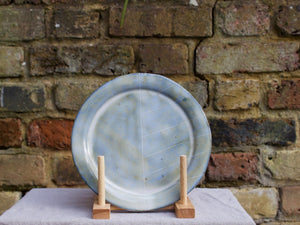 my hungry valentine-studio-ceramics-stripes-rimmed plate-medium-cloudy green