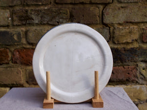 my hungry valentine-studio-ceramics-stripes-rimmed plate-medium-cloudy white