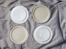 Load image into Gallery viewer, my hungry valentine-studio-ceramics-stripes-rimmed plate-medium-group-raw backs