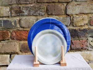 my hungry valentine-studio-ceramics-stripes-rimmed plate-small-cloudy green