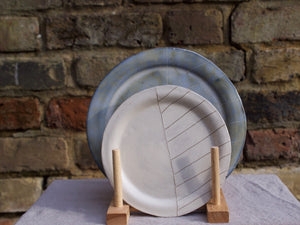 my hungry valentine-studio-ceramics-stripes-rimmed plate-small-cream