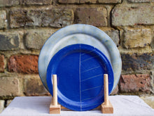 Load image into Gallery viewer, my hungry valentine-studio-ceramics-stripes-rimmed plate-small-myosotis blue