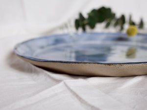 my hungry valentine-studio-ceramics-stripes-serving dish-flared edges-cloudy green-side