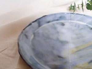 my hungry valentine-studio-ceramics-stripes-serving dish-flared edges-cloudy green-zoom
