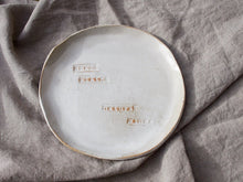 Load image into Gallery viewer, my hungry valentine-studio-ceramics-word on the clay-flat plate-small plates natural wines-2
