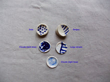 Load image into Gallery viewer, myhungryvalentine-studio-ceramics-seconds-cobalt-minisaltandpepperpots-group-top-1-patterns