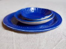 Load image into Gallery viewer, myhungryvalentine-studio-ceramics-seconds-stripes-plate-bowls-set-myosotisblue-stacked