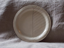 Load image into Gallery viewer, myhungryvalentine-studio-ceramics-seconds-stripes-rimmedplate-small-cream-standing