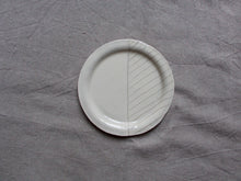 Load image into Gallery viewer, myhungryvalentine-studio-ceramics-seconds-stripes-rimmedplate-small-cream-top