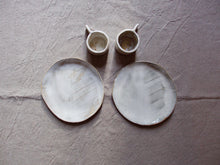 Load image into Gallery viewer, myhungryvalentine-studio-ceramics-sets-breakfast-cakeplateandespressocups-cloudywhite-top-1