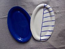 Load image into Gallery viewer, myhungryvalentine-studio-ceramics-sets-flatovalservingdishes-myosotisblueandcobaltstripes-top