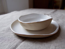 Load image into Gallery viewer, myhungryvalentine-studio-ceramics-simple-glosswhite-cakeplateandbowl-side