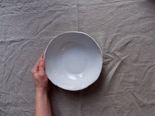 Load image into Gallery viewer, myhungryvalentine-studio-ceramics-simple-servingbowl-medium-glosswhite-top-hand