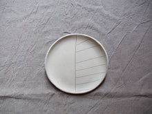 Load image into Gallery viewer, myhungryvalentine-studio-ceramics-stripes-cakeplate-cream-top