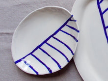 Load image into Gallery viewer, myhungryvalentine-studio-ceramics-stripes-egg-shapedservingdish-cream-cobaltbluestripes-top