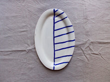 Load image into Gallery viewer, myhungryvalentine-studio-ceramics-stripes-flatovalservingdish-cream-cobaltbluestripes-top