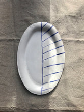 Load image into Gallery viewer, myhungryvalentine-studio-ceramics-stripes-flatovalservingdish-mattwhite-cobaltbluestripes-top-2