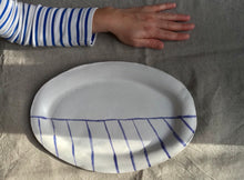 Load image into Gallery viewer, myhungryvalentine-studio-ceramics-stripes-flatovalservingdish-mattwhite-cobaltbluestripes-top