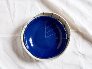 my hungry valentine-studio-ceramics-stripes-round serving bowl-myosotis blue-top-nested