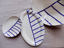 Load image into Gallery viewer, myhungryvalentine-studio-ceramics-stripes-servingdishes-cream-cobaltbluestripes-group-1
