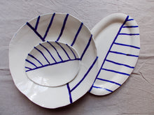Load image into Gallery viewer, myhungryvalentine-studio-ceramics-stripes-servingdishes-cream-cobaltbluestripes-group-2