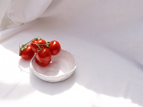 my hungry valentine-studio-ceramics-unique-pinched bowl-matt white-medium-tomatoes-2