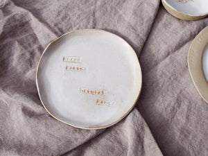 my hungry valentine-studio-ceramics-word on the clay-flat plate-small plates natural wines-matt white