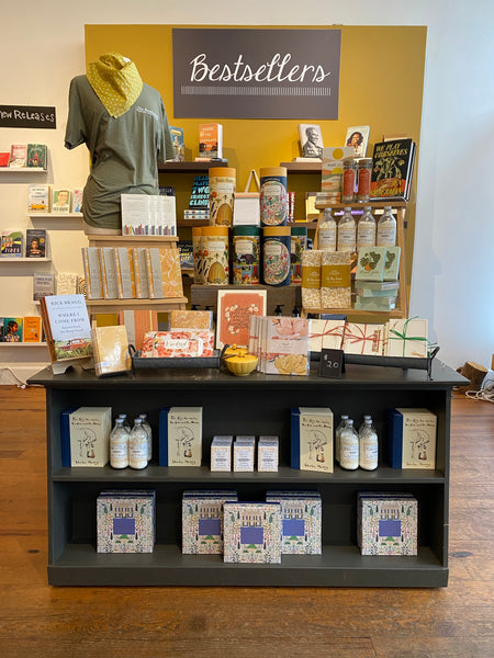 a trendy display at Thomasville's own women owned bookstore, The Bookshelf featuring books stationery candles and more