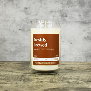 Freshly Brewed scent soy wax candle in can shaped glass vessel with tapered top and warm brown label