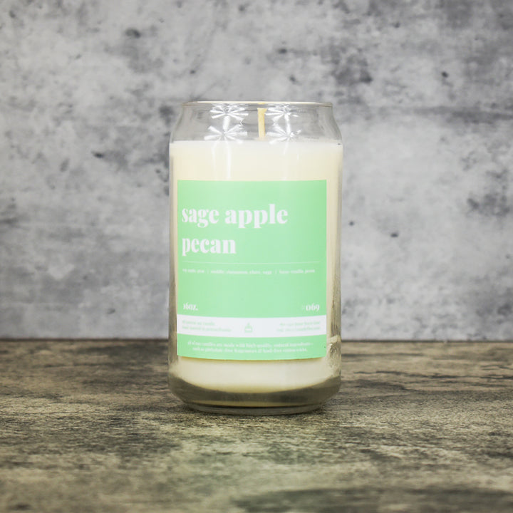 Sage Apple Pecan scent soy wax candle in can shaped glass vessel with tapered top and lovely mint green label