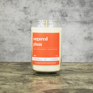 Sugared Plum scent soy wax candle in can shaped glass vessel with tapered top and bright orange label