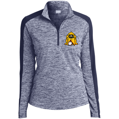 HoundHead Logo Ladies' Electric Heather Colorblock 1/4-Zip Pullover