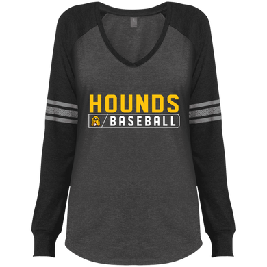 Hounds Bar Logo Ladies' Game LS V-Neck T-Shirt
