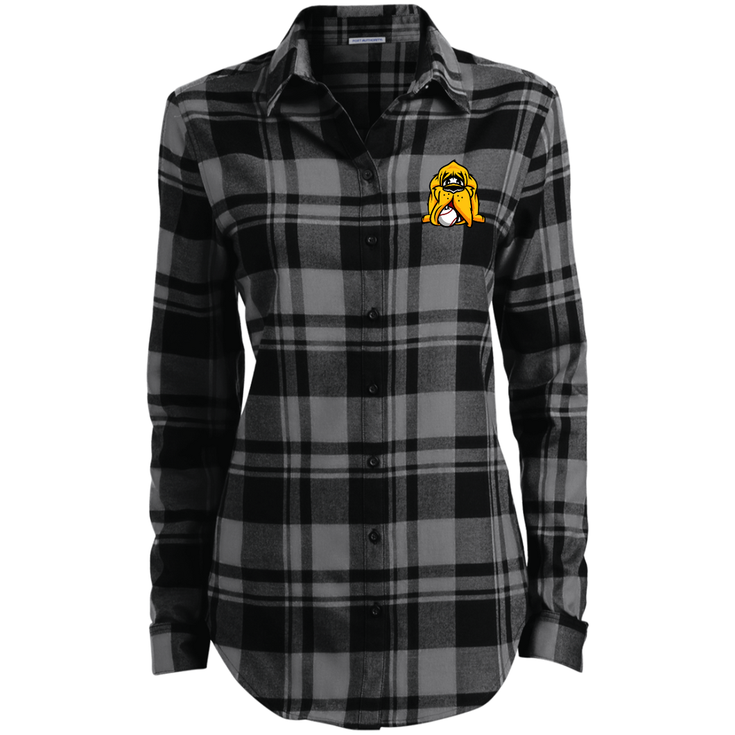 Ladies Hound Head Embroidered Flannel Shirt