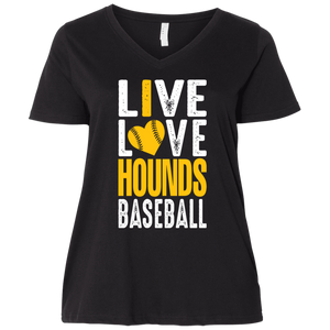 I Love the Hounds Ladies' Curvy V-Neck T-Shirt