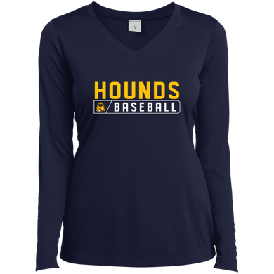 Hounds Bar Logo Ladies' LS Performance V-Neck T-Shirt