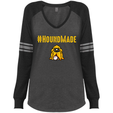 Load image into Gallery viewer, Houndmade Ladies' Game LS V-Neck T-Shirt
