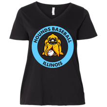 Load image into Gallery viewer, Hounds Baseball Illinois  Ladies' Curvy V-Neck T-Shirt