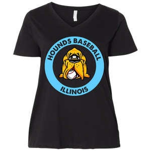 Hounds Baseball Illinois  Ladies' Curvy V-Neck T-Shirt