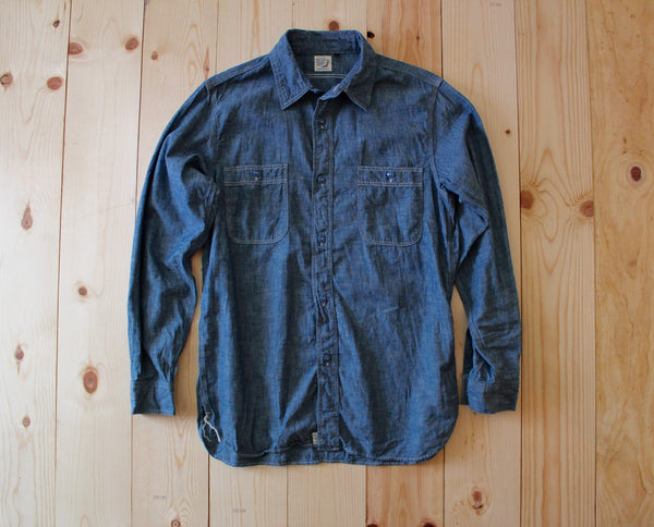 Orslow Chambray Work Shirt in Blue Chambray