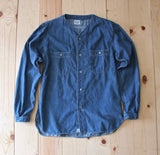 OrSlow No Collar Denim Shirt in Used