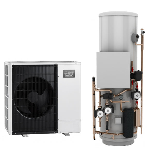 Mitsubishi Ecodan 8.5kW Monobloc Air Source Heat Pump with Pre-Plumbed Standard Cylinder
