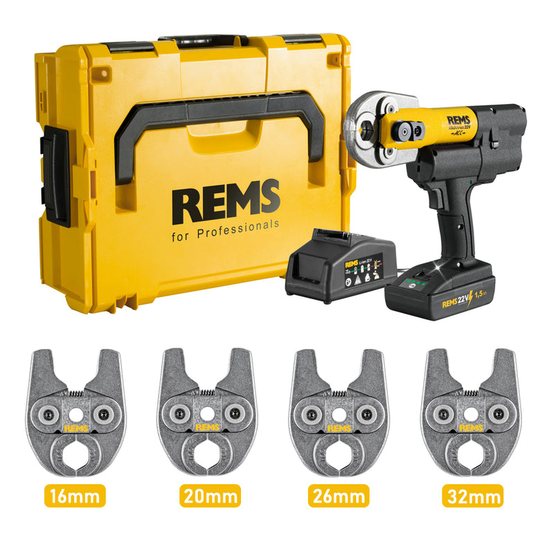 REMS MINI-PRESS 22 V ACC Press Gun with TH Profile Tongs