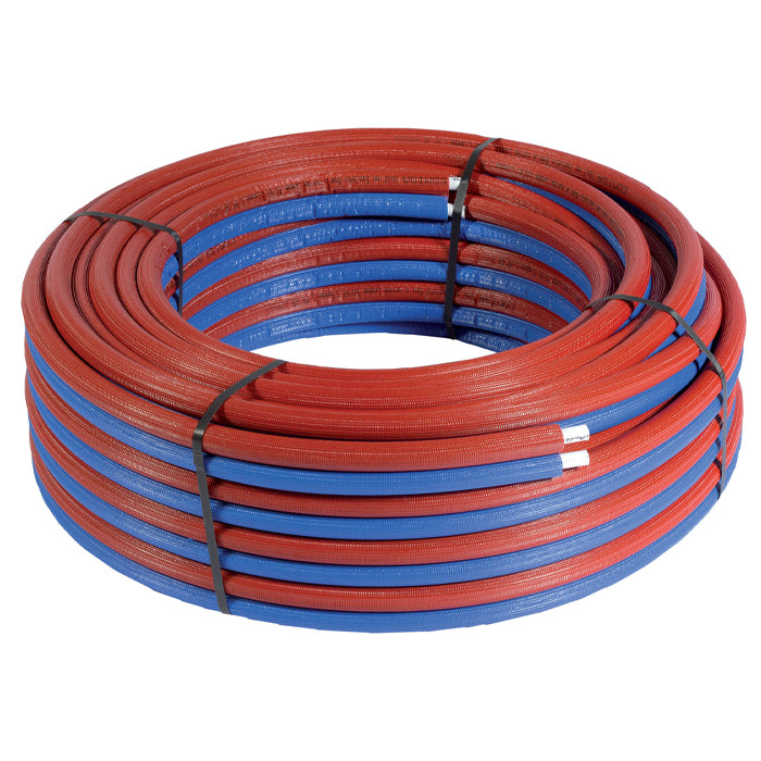 16mm x 50m Preinsulated Multilayer Pipe Red and Blue