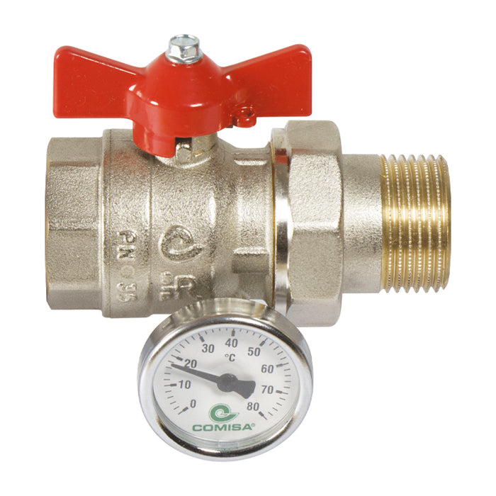 "Ball Valve 1"" Male/Female with Temperature Gauge"