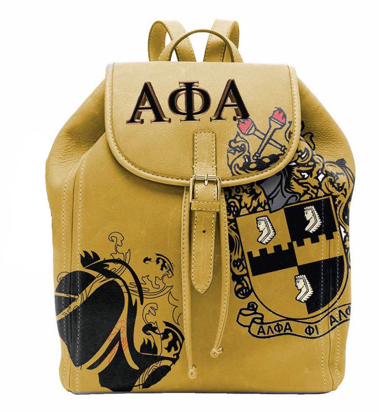 "(BACKPACKS) ALPHA PHI ALPHA Backpack/LAPTOP BAG ""GOLD"""