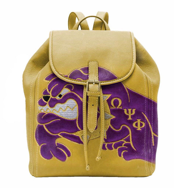 "(BACKPACKS) OMEGA PSI PHI Backpack/LAPTOP BAG ""QDOG"" IN OLD GOLD"