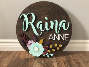Round name sign for nursery with 3d letters and flowers